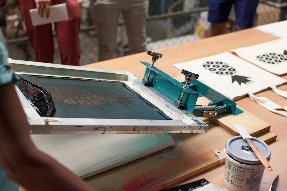 learn screen printing on fabric with YOU ARE BRAVE textiles + decor