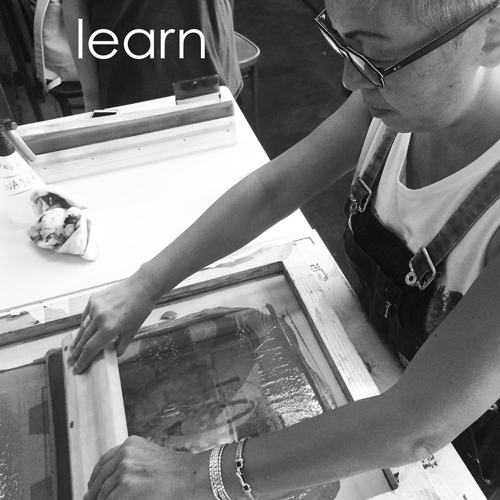 Learn screen printing with YOU ARE BRAVE at Makerspace & Co
