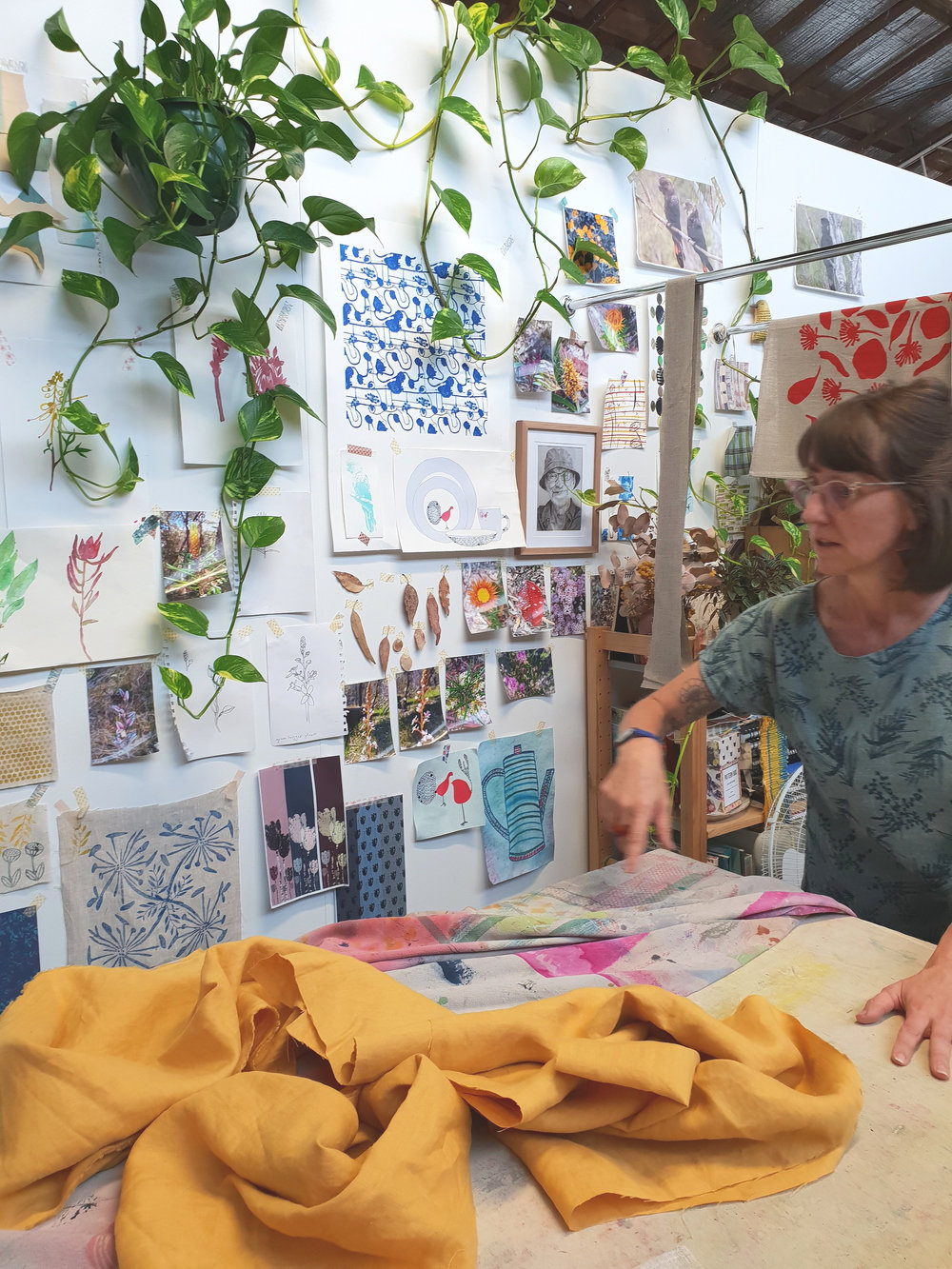 In the studio at Femke Textiles with Simone.