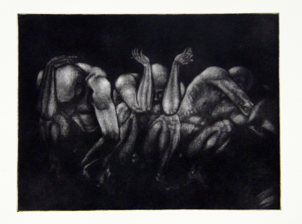 Untitled (Crouch)  from the  Black Works series , mezzotint  2015