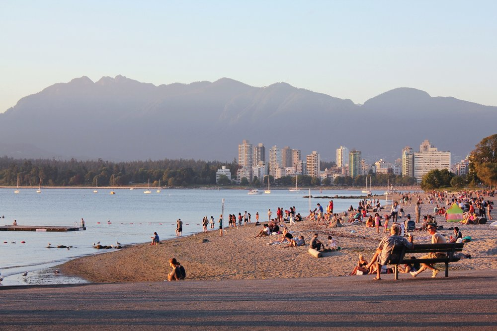 Summer sunset at Kitsilano Beach
