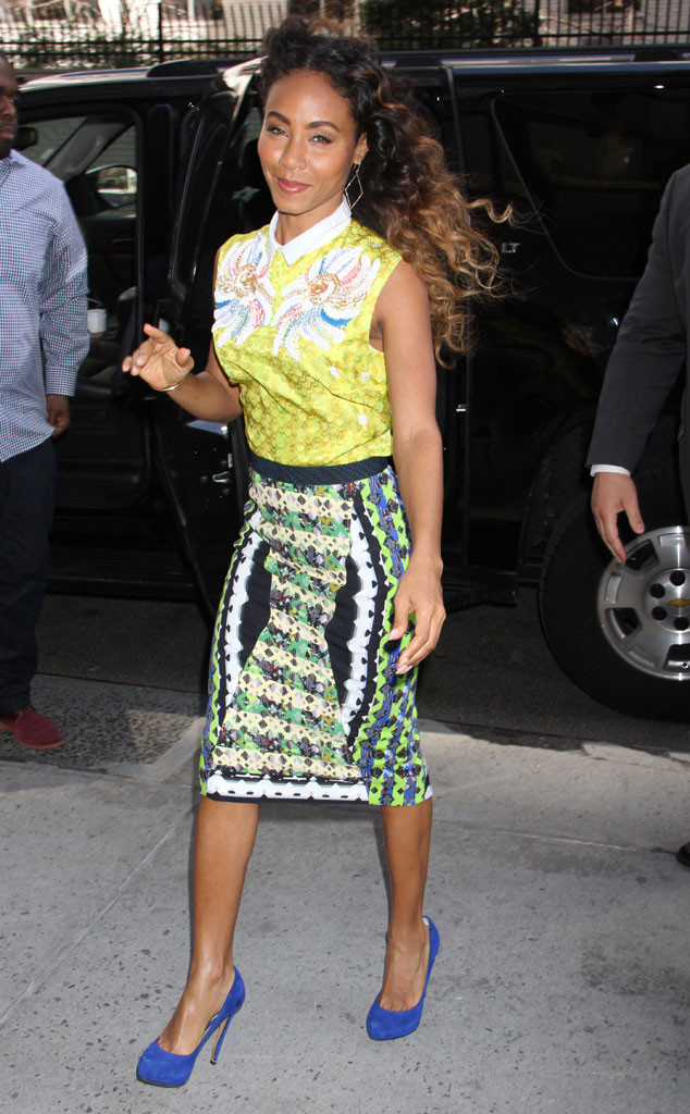 JADA PINKETT-SMITH While out and about in New York, the star pairs her sleeveless Peter Pilotto jacquard silk blouse with a geometric print pencil skirt by the designer. Her cobalt blue pumps complete her showstopping ensemble.  Dara Kushner/INFphoto.com