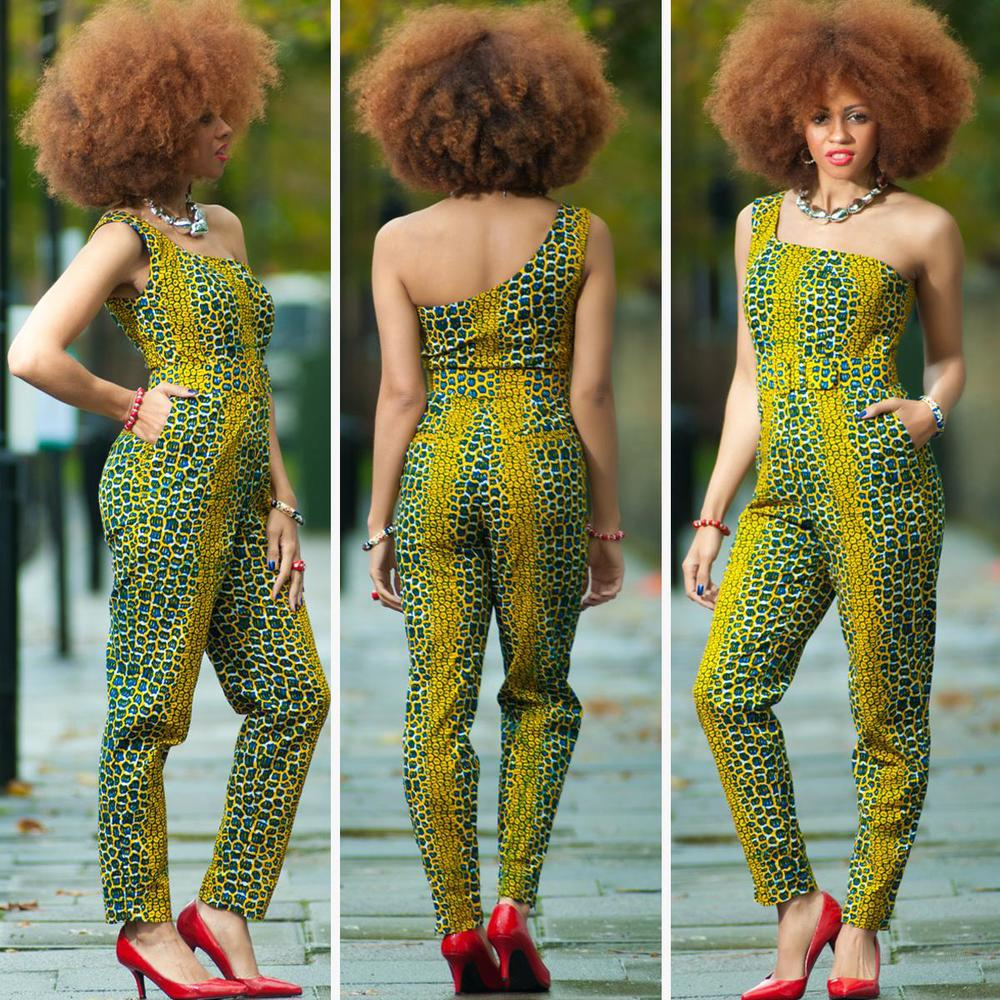 Ngozi-One-Shoulder-African Print-Jumpsuit/By Zanjoo
