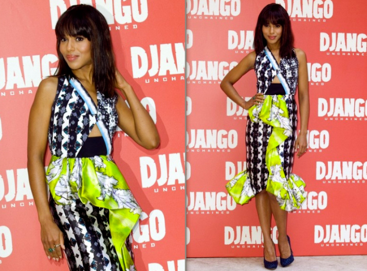 Kerry Washington rocks African print during the Django movie premier