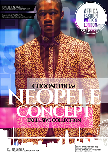 Menswear brand Neopele CONCEPTS was established in 2010 by Okoro Nduka Pele who studied environmental engineering fromUniport Nigeria.  His love for creativity in clothing propelled him to take a step further to studying fashion and designing at a prestigious fashion school in London.   Neopele CONCEPTS aesthetic is to create  state of the art designs and a sublime range of outfits to suit all personalities. Neopele CONCEPTS is representing: Nigeria