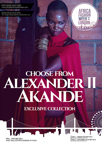 Alexander II Akande     Born in Cameroon,  Alexander   Akande  grew up across the world - Nigeria, Cameroon, DR Congo, Kenya, France, Italy, U.K - and this wealth of cultural experience is vividly expressed in his work.     The focus of the brand is on creating quality garments that challenge the perception of African design, drawing on the designer's global cultural experiences and rich cultural heritage.     Alexander II Akande  is representing Cameroon
