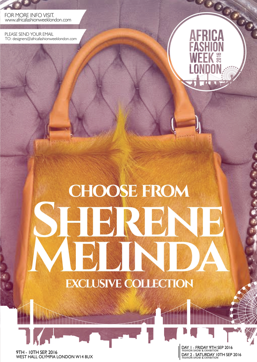 Sherene Melinda  is a London-based designer handbag brand with a unique, South African inspired style. Their current collection of contemporary handbags each feature authentic, vibrant, springbok hair-on-hide and the finest quality leathers both inside and out.   The story of this brand began over two years ago when owner and creative director Sherene returned to the busy streets of London in the search for a new adventure. She  was motivated to make the move and start a fashion brand after she first discovered the springbok hair-on-hide, and believed that the sustainably sourced material would fill a space in the London and international fashion markets.   Motivated by the desire to give everyone the opportunity to express him or herself through fashion, the brand strives to combine a universal use of colour and trend, suitable for those leading a cosmopolitan lifestyle. They have just released their Newest Collection, which includes the brand's first unisex bag and is an important milestone in their aim to create fashion that reflects the inner vibrancy of every individual.   Sherene Melinda  is representing South Africa