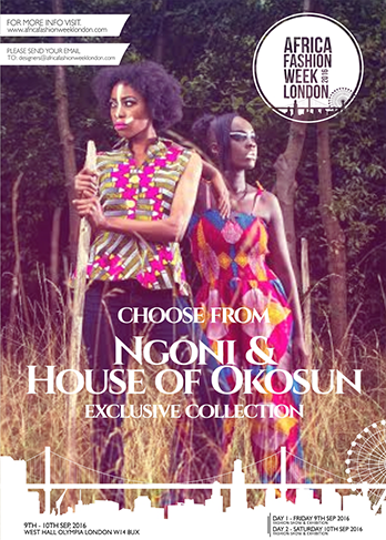 A collaboration between two friends, hailing from Zambia and Sierra Leone, - South meets West Africa as  Ngoni       & House of Okosun .    Their collection is Inspired by the daily intertwining of their current Western influences and their richly cultural heritage.  Their debut collection is a glamorous celebration of the modern day fashion conscious individual who wants to embrace African fashion with a modern twist.     Ngoni & House of Okosun  is representing Zambia and Sierra Leone