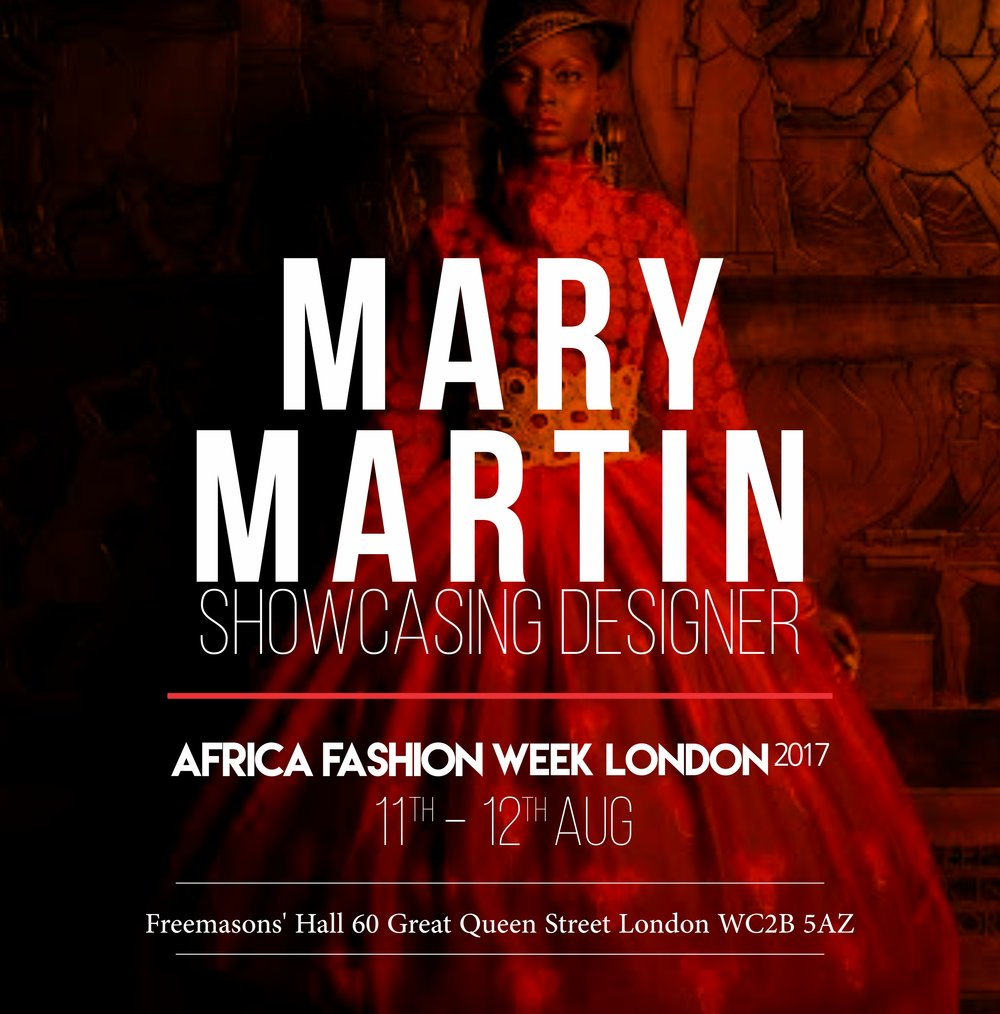 MARY MARTIN LONDON - Award winning fashion designer Mary Martin began a career in the music industry but her passion for fashion has continued to grow.Today, Mary Martin's collections have been gaining recognition as a go-to for shows. This year's collection is focusing on the art and antique artifacts of Nigeria.