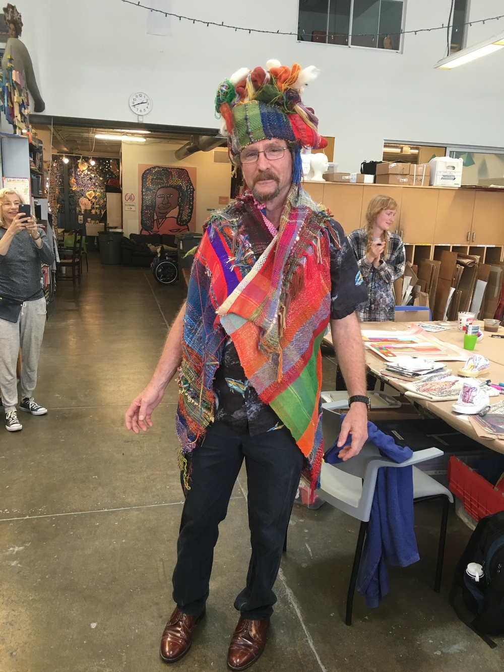 Pete modeling the hand stitched hat he made using Tony Pedemonte's woven sculpture. Communally SAORI woven vest.