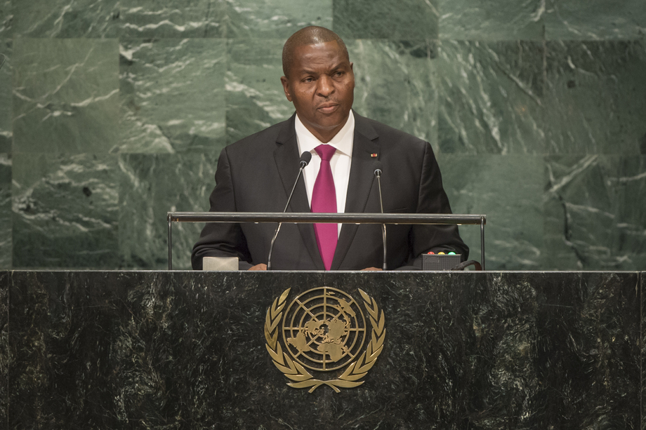 CAR President Touadera addressing the UN General Assembly. Photo from the United Nations.