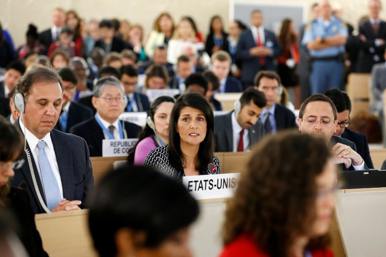 UN Ambassador Nikki Haley addressing the Human Rights Counsel in Geneva.  Magali Girardin/European Pressphoto Agency.