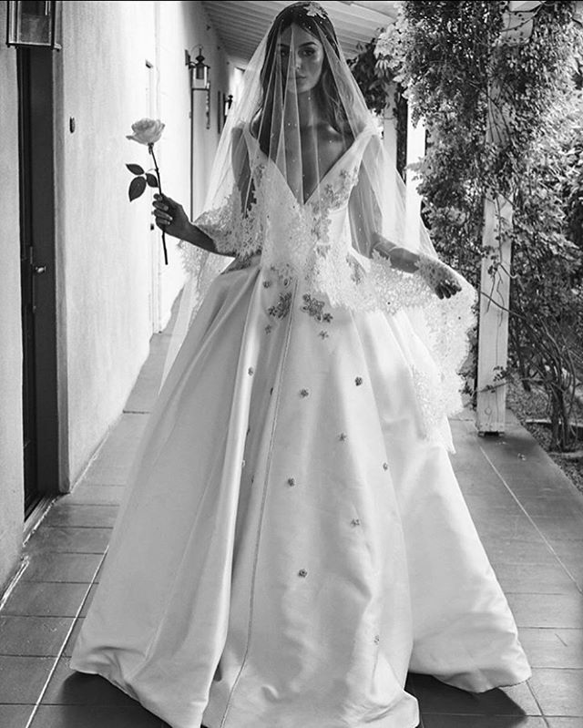 A throwback to the stunning @nictrunfio being married wearing a custom #stevenkhalil gown and French lace veil.