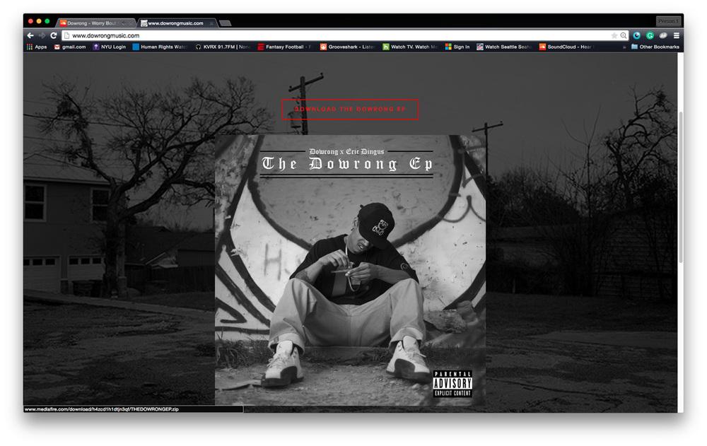 Album art and background image published on  dowrongmusic.com