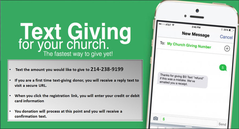 "TIPS FOR FUTURE TEXT-GIVING DONATIONS  1. If you text a monetary value (e.g. $10), the funds will be applied to general tithes/offering.  2. If you text the amount + fund name (e.g. $10 building fund), the funds will be applied to that particular fund.  3. If the fund name you text does not match, you will receive a message with a list of fund names to choose from.  4. If you text ""funds"", you will receive a reply text with a list of funds you can donate to.  5. If you text ""reset"", you will receive a reply that states the following: ""saved card information successfully removed. Please register your card information again when making your next gift by texting an amount to this number"". This can be used to change or update your credit card information."