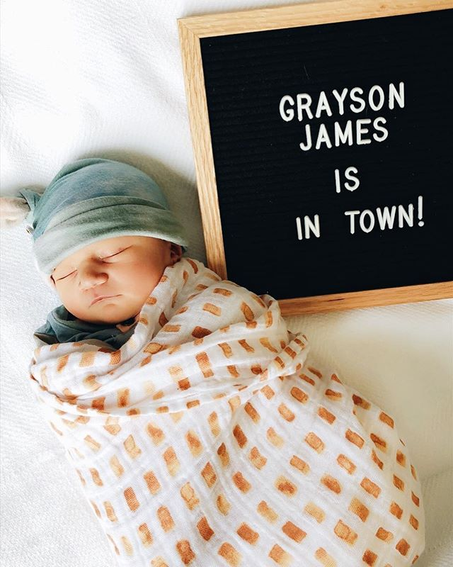 Congratulations to our very own @marisaloughney and @ryanloughney on the birth of their first baby boy! We are obsessed, but we're sorry he is not available as a prop 🤗 welcome to the world Grayson James!