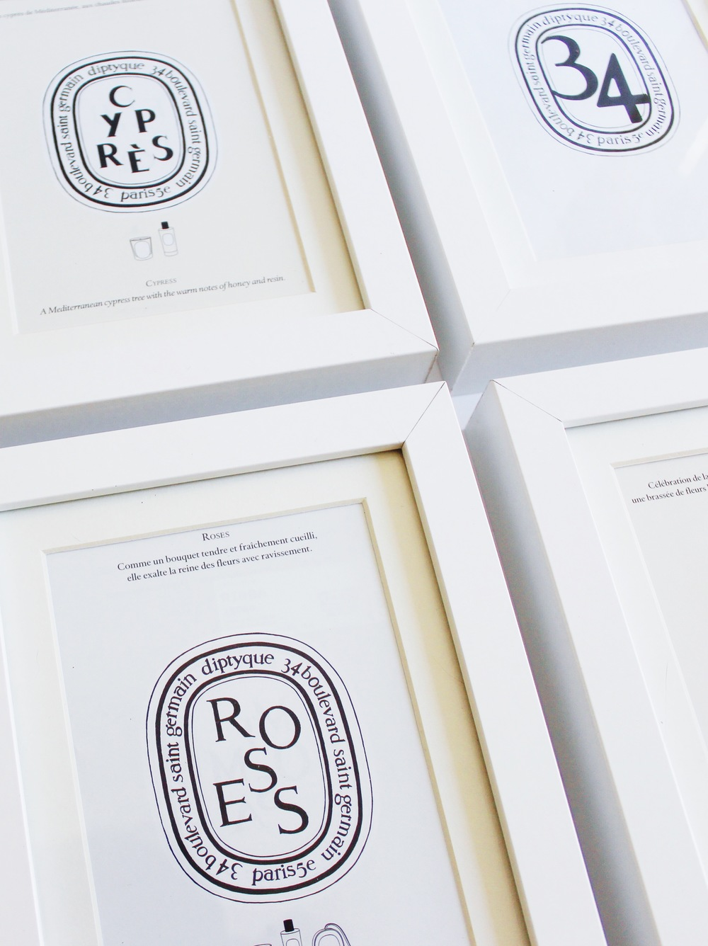 A Diptyque DIY - Diptyque candle labels get new life as wall art - an easy, inexpensive craft project | Sundays and Somedays