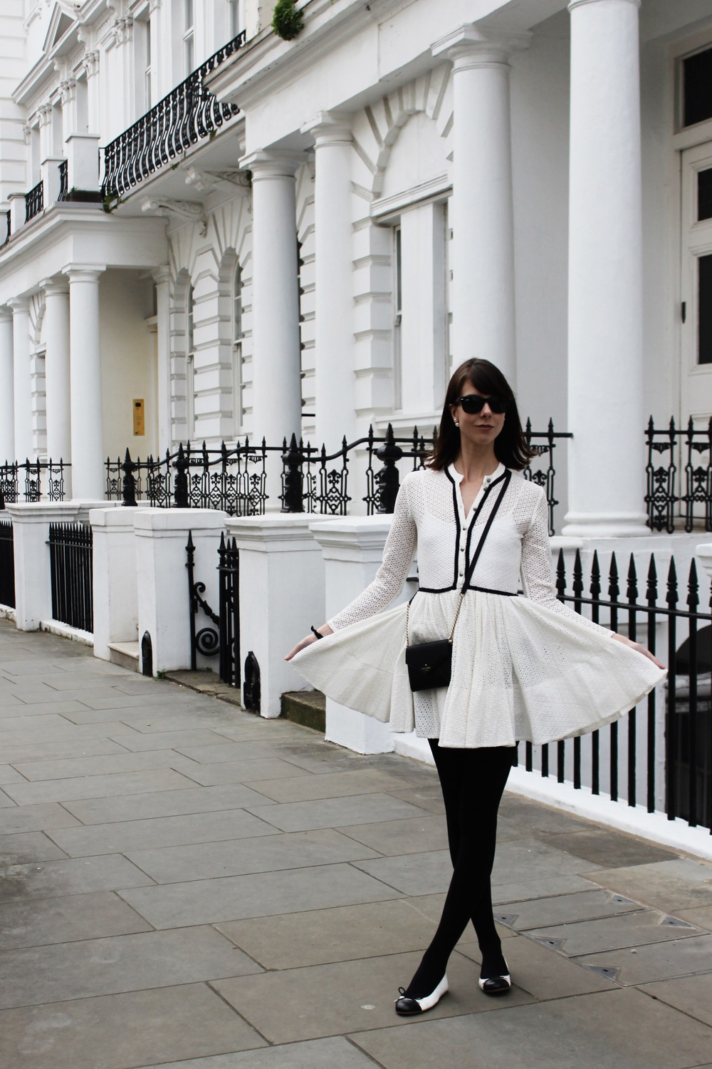 Lace in London - Maje Dress, Kate Spade Crossbody | Sundays and Somedays