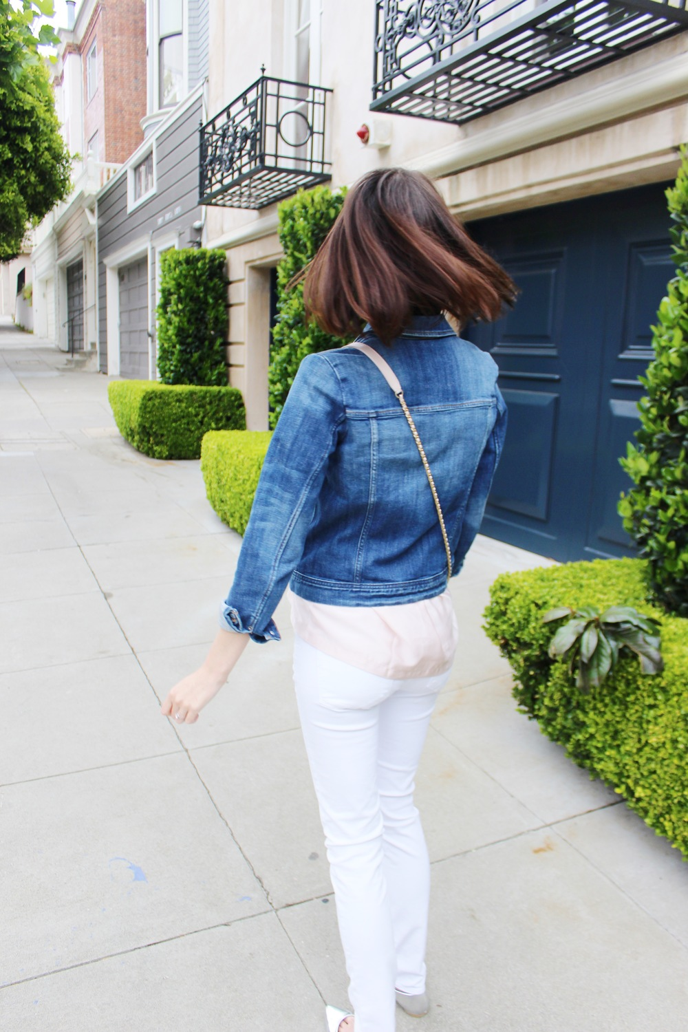 A Touch of Blush - White Jeans and Denim Jacket with a Blush Top | Sundays and Somedays