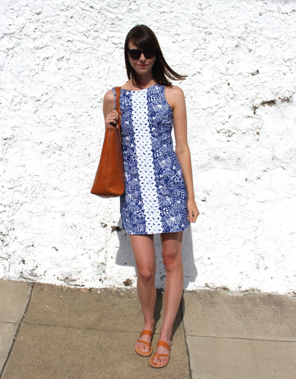 #LillyForTarget Upstream Shift Dress - A Preppy Look Pairing Camel and Blue   | Sundays and Somedays