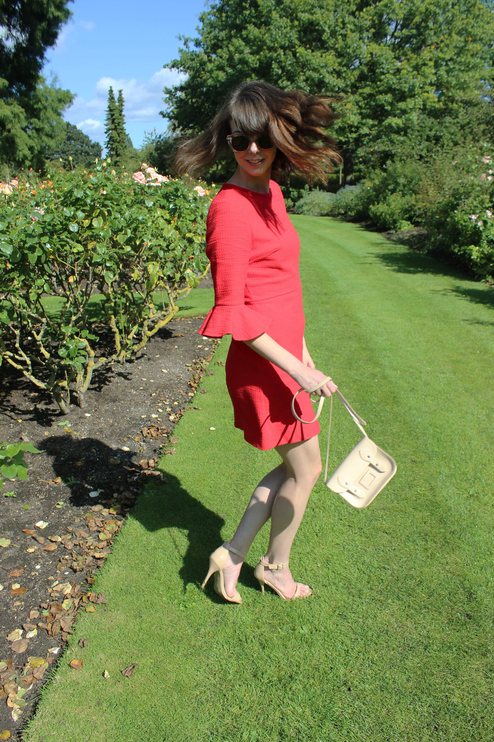 Taking a red Topshop dress and a Cambridge Satchel Company bag for a spin in Regent's Park.
