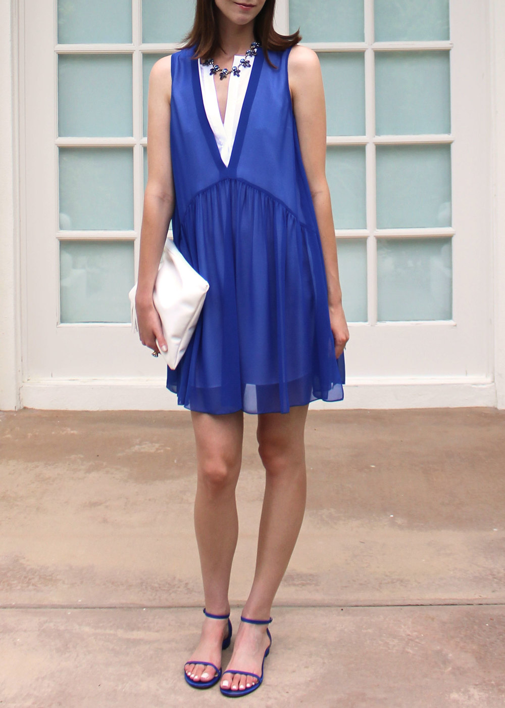 Blue and white Sandro dress with M.Gemi flats.