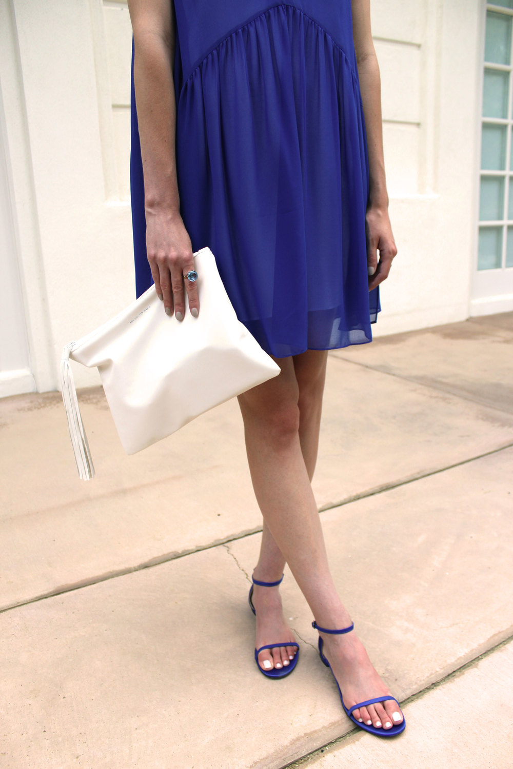 Blue and white Sandro dress with blue M.Gemi flats.