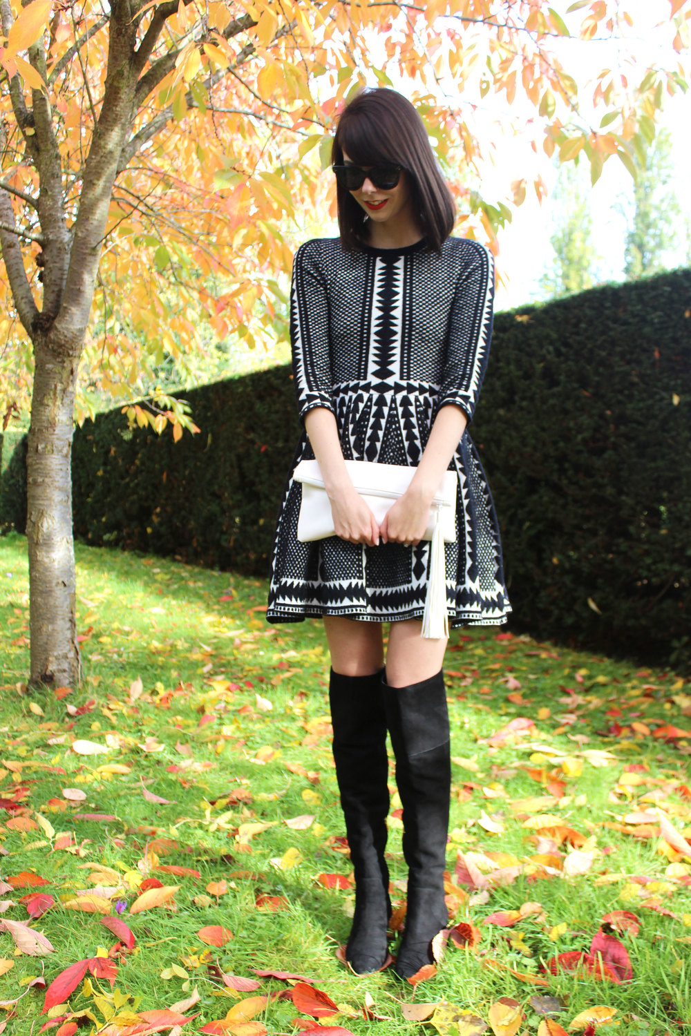 Cozy sweater dress with suede over the knee boots - perfect fall outfit!