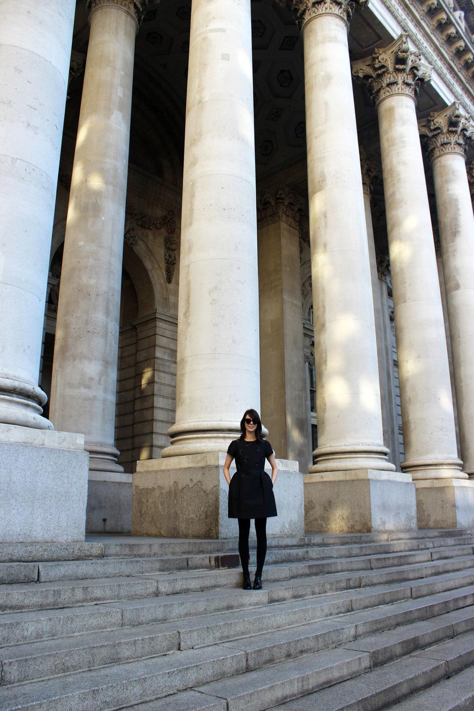 Strolling through London's Bank neighborhood in my favorite little black dress!
