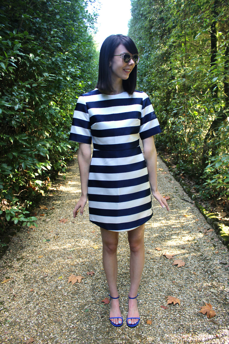 Wearing a striped shift dress from Topshop and M.Gemi flats at the Boboli Gardens in Florence, Italy.