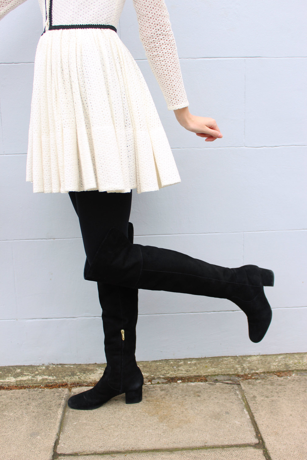 Suede over the knee boots and a Maje dress.