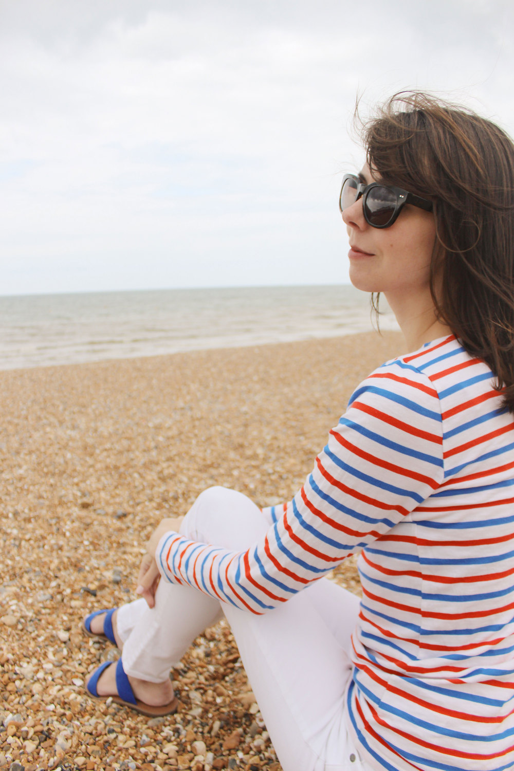 Wearing red, white and blue for a morning in Brighton, England.