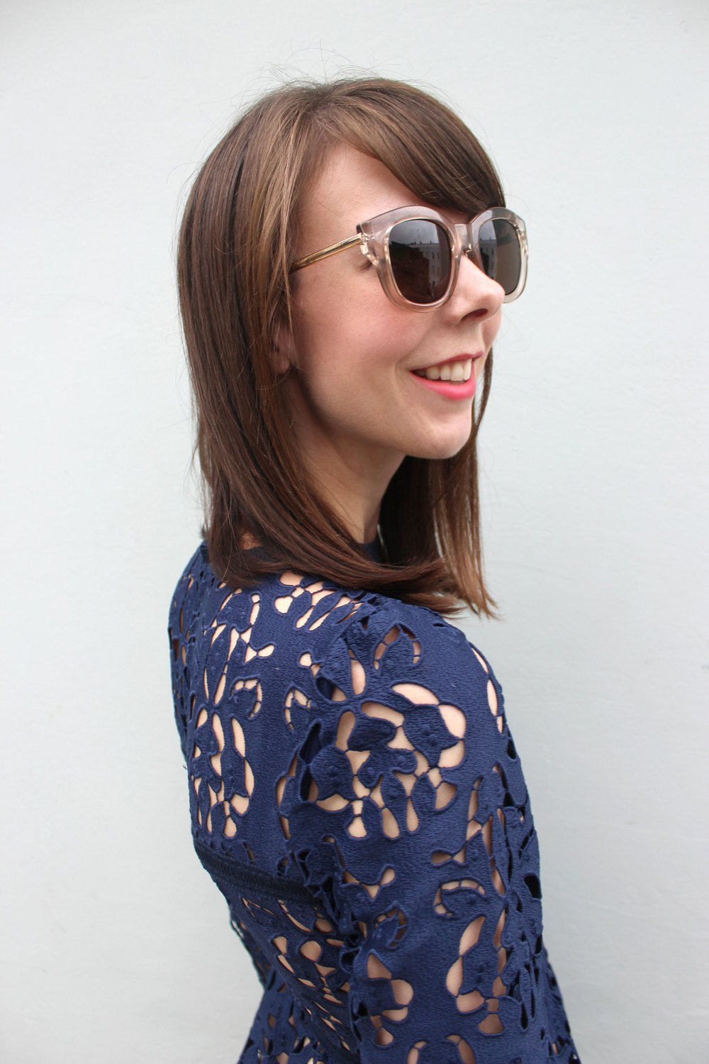 Zara lace dress, Le Specs sunglasses, Topshop lipstick