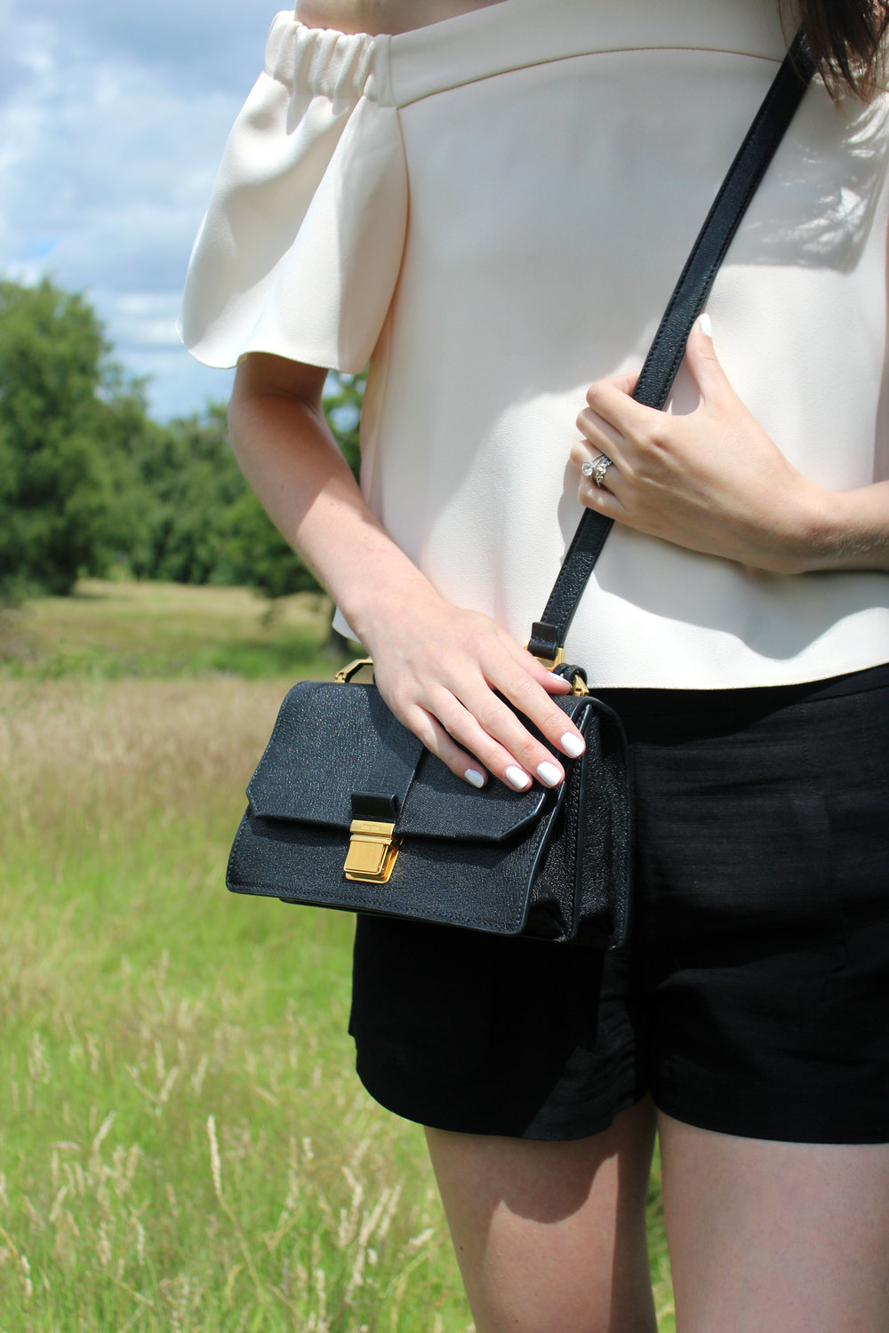 a35504fd56b Miu Miu bag and Topshop blush pink off the shoulder top at Hampstead Heath