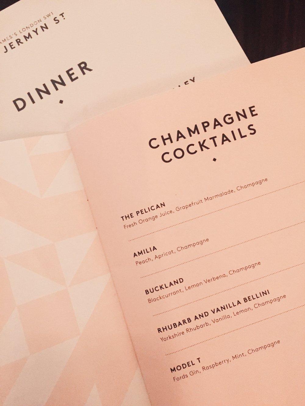 The menus at 45 Jermyn Street at Fortnum and Mason in London