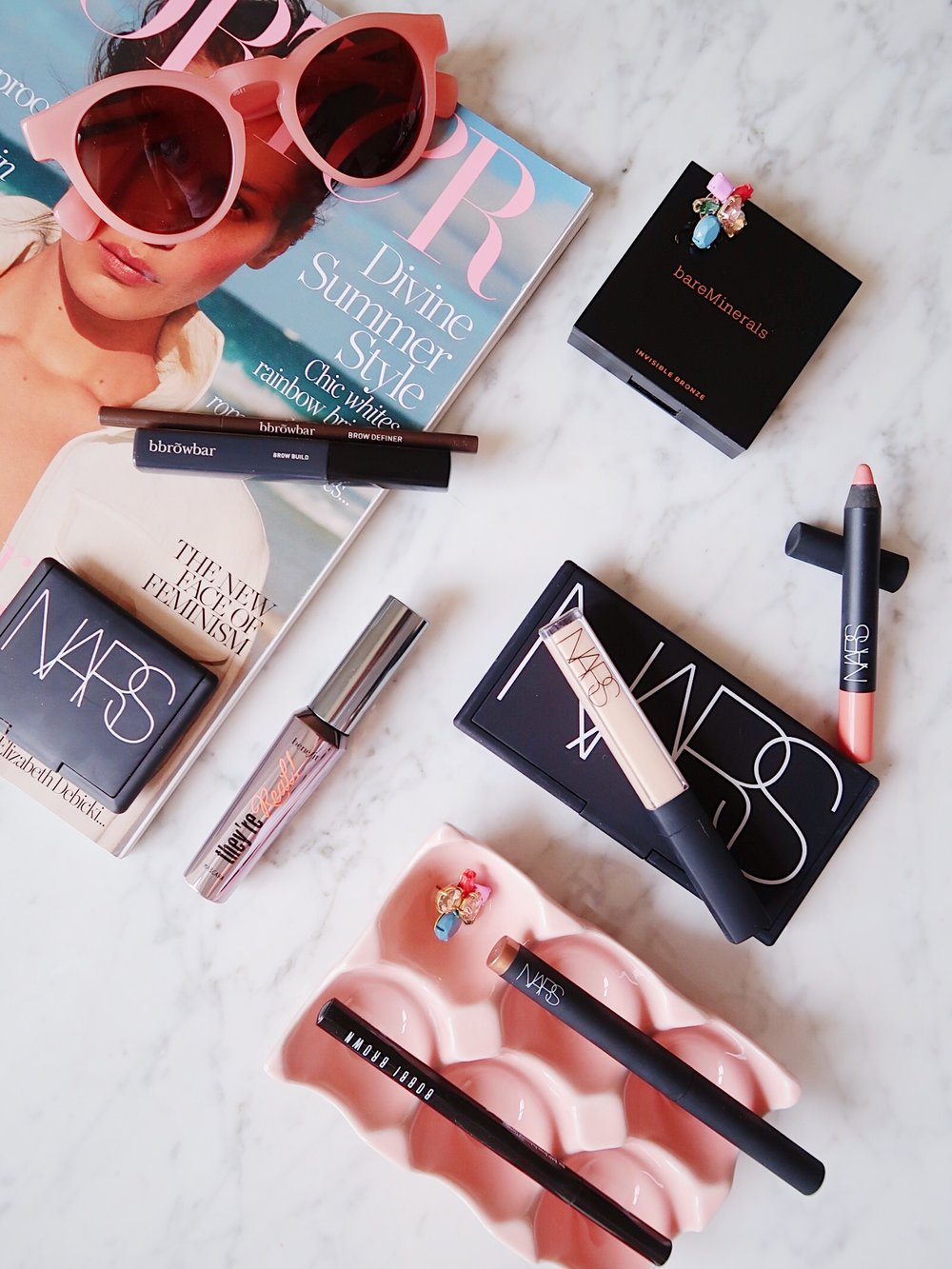 Summer Makeup Staples | Bobbi Brown eyeliner, Nars shadow stick, Nars creamy concealer, BareMinerals bronzer, Benefit They're Real mascara, Blink Browbar eyebrow gel | Sundays and Somedays