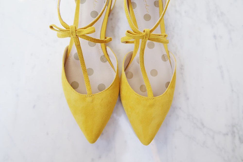 Boden Jennifer t-bar bow flats in saffron yellow | Favorite Fall Shoes | Sundays and Somedays