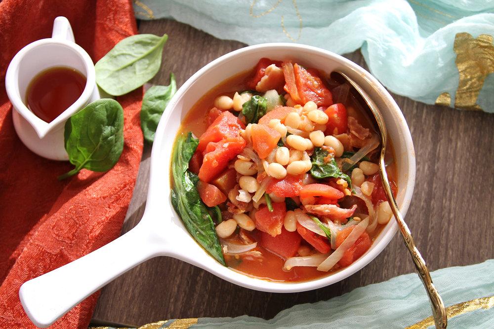 White Bean Spinach & Tomato Jumble Recipe  Photo: Katie Schmidt