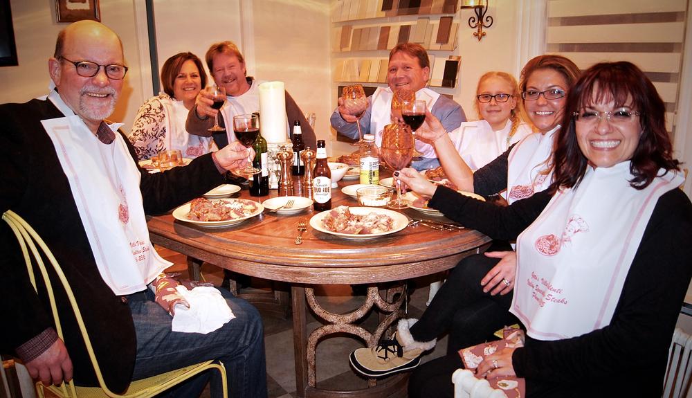 La Mia Famiglia … The family enjoying one of Ellena's delectable meals.