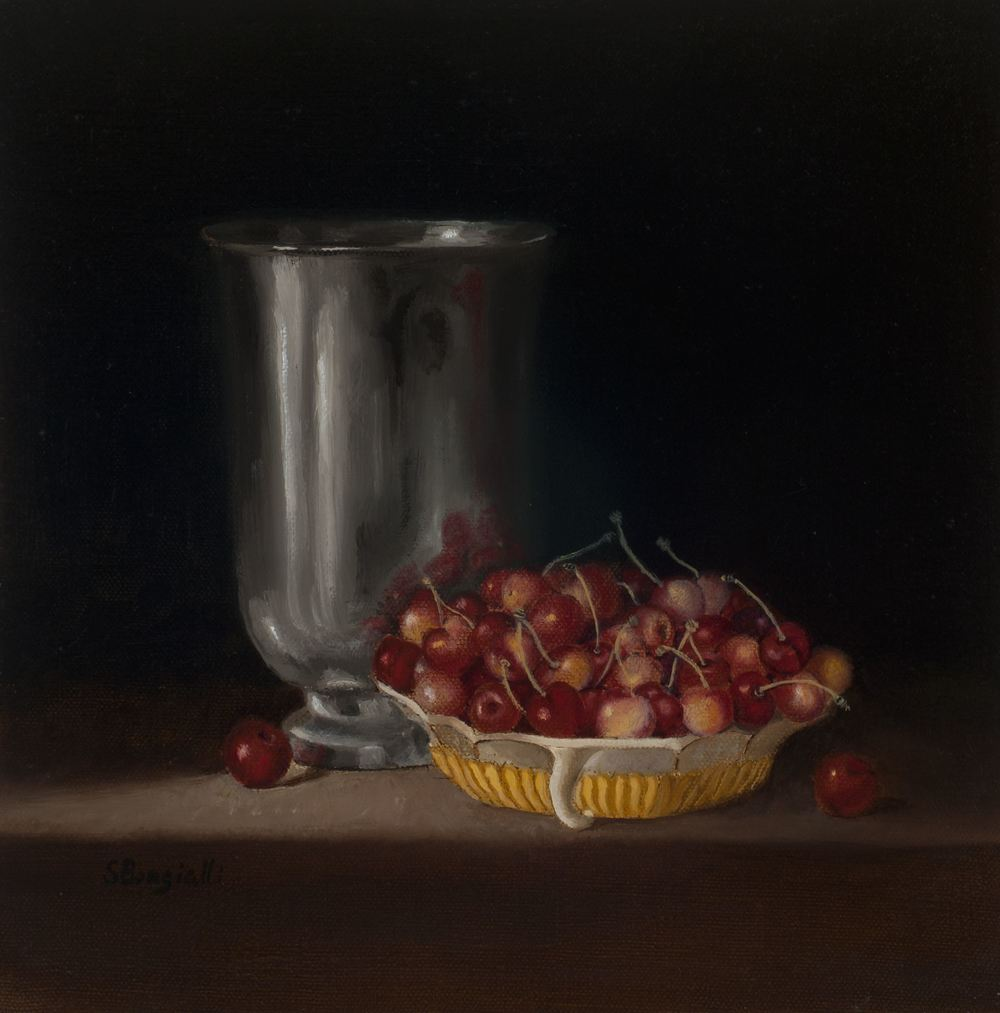 PEWTER AND CHERRIES, 12 X 12