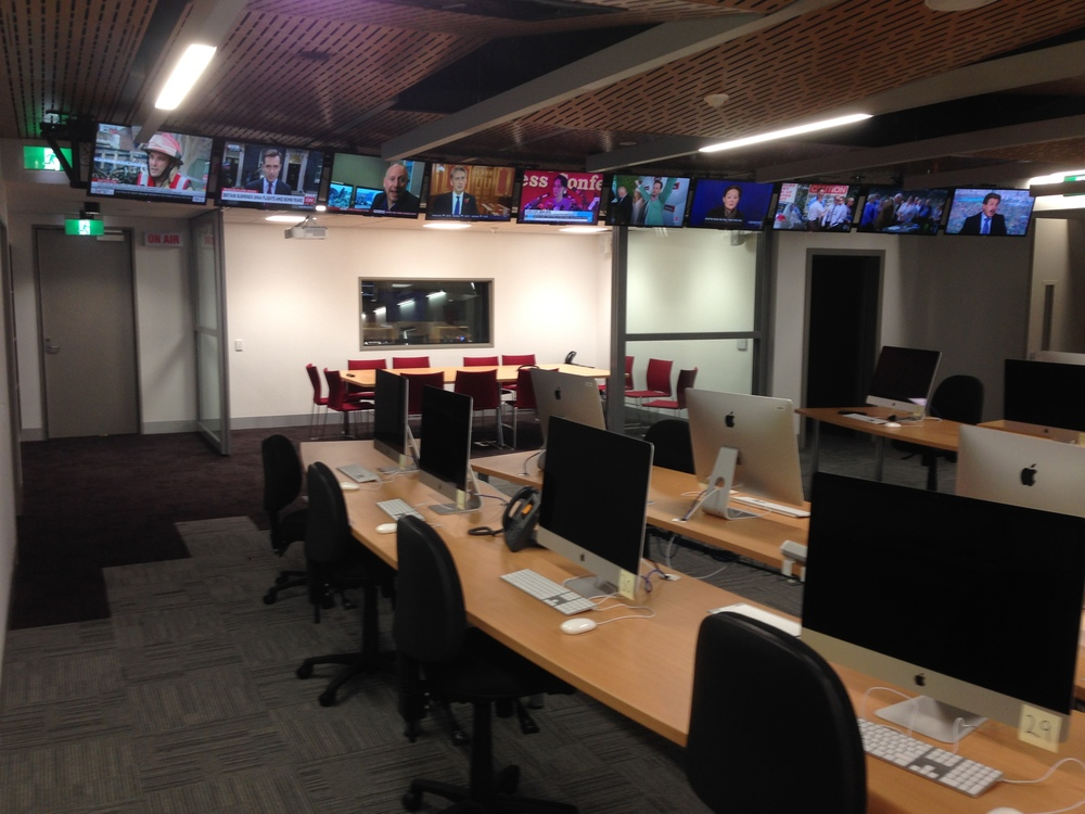 ENPS workstations in the simulated newsroom environment at monash university