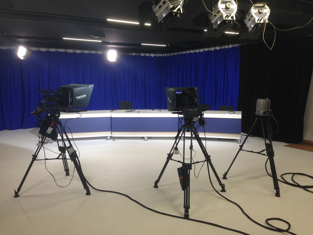 Cuescript prompters in the studio at monash university
