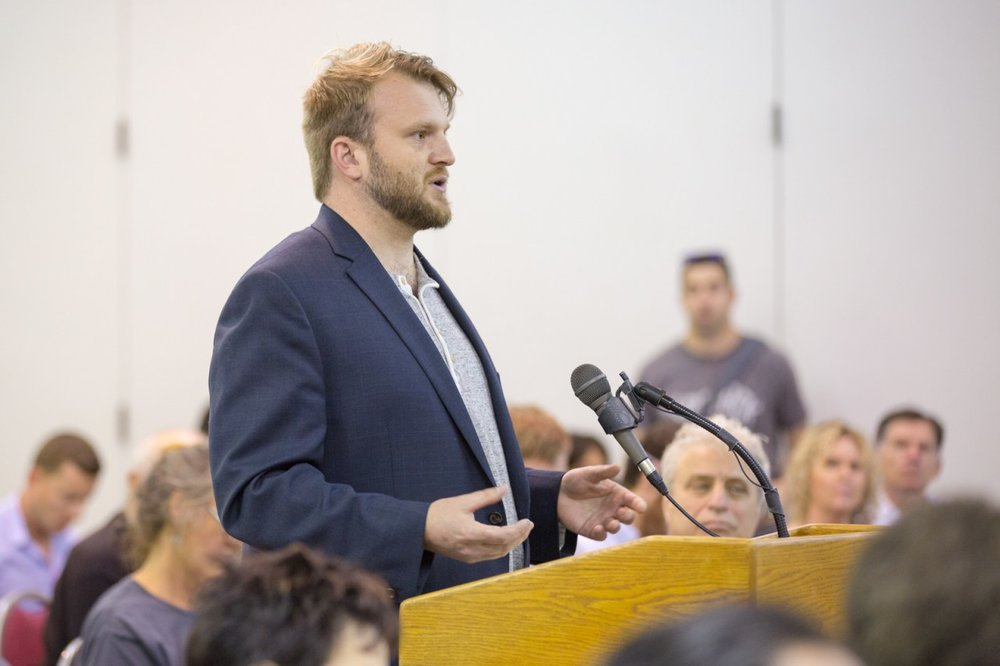 Hezekiah Allen, executive director of the California Growers Association, spoke during a hearing on the state's draft medical cultivation regulations at the Ukiah Valley Conference Center. (Chris Pugh, Ukiah Daily Journal)