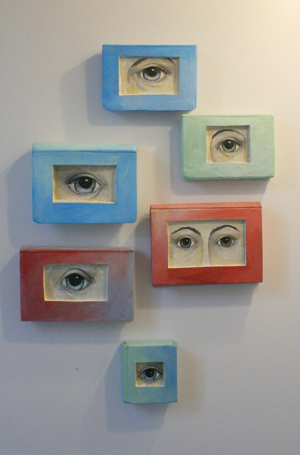 eye paintings on old books