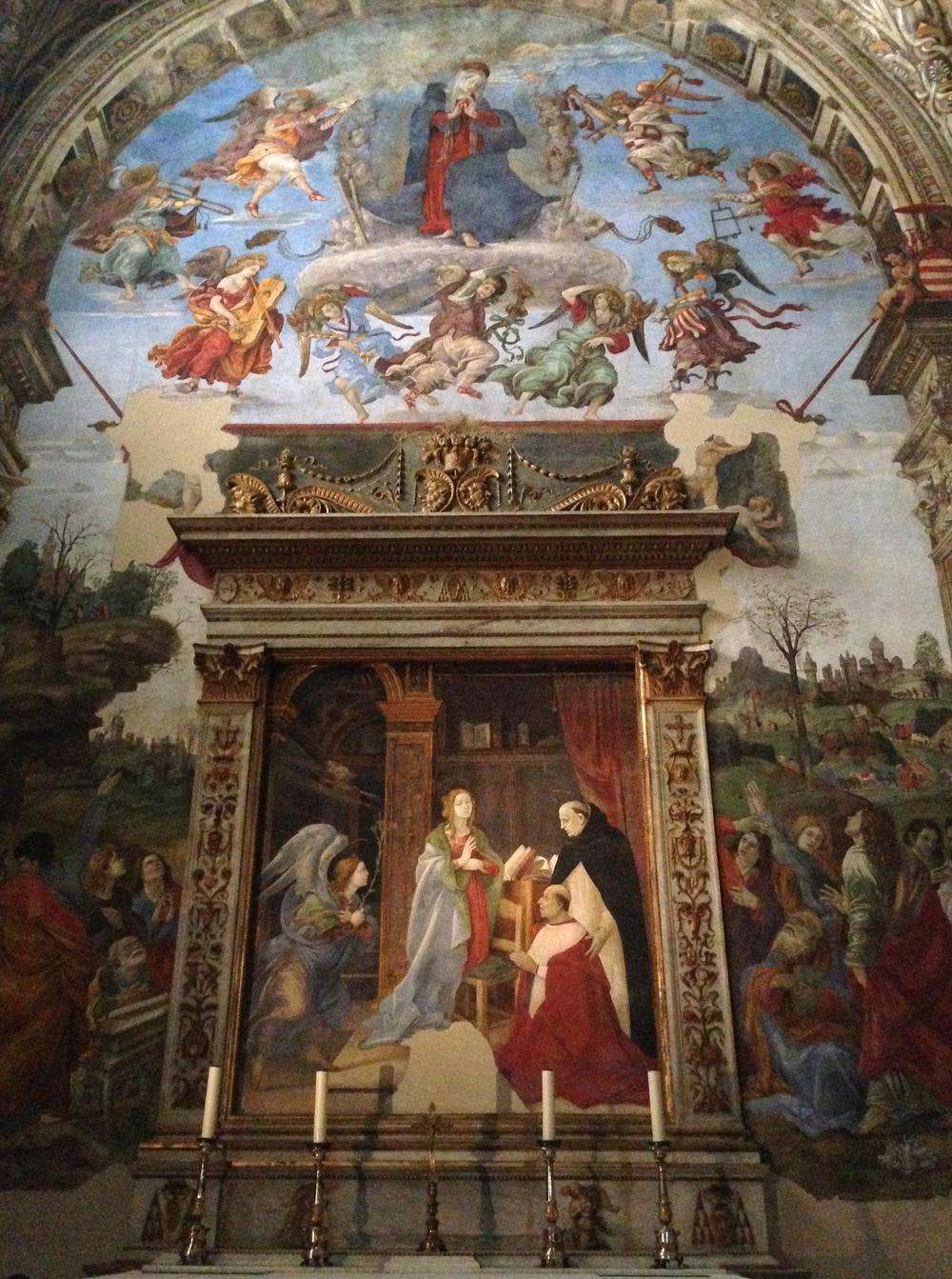 The annunciation by Fra Fillippino Lippi in Carafa Chapel in the church of Santa Maria sopra Minerva, Rome, Italy