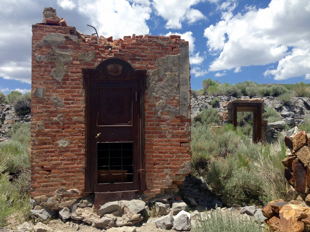 The Bodie Bank was destroyed in the 1932 fire. All that remains is the brick vault.