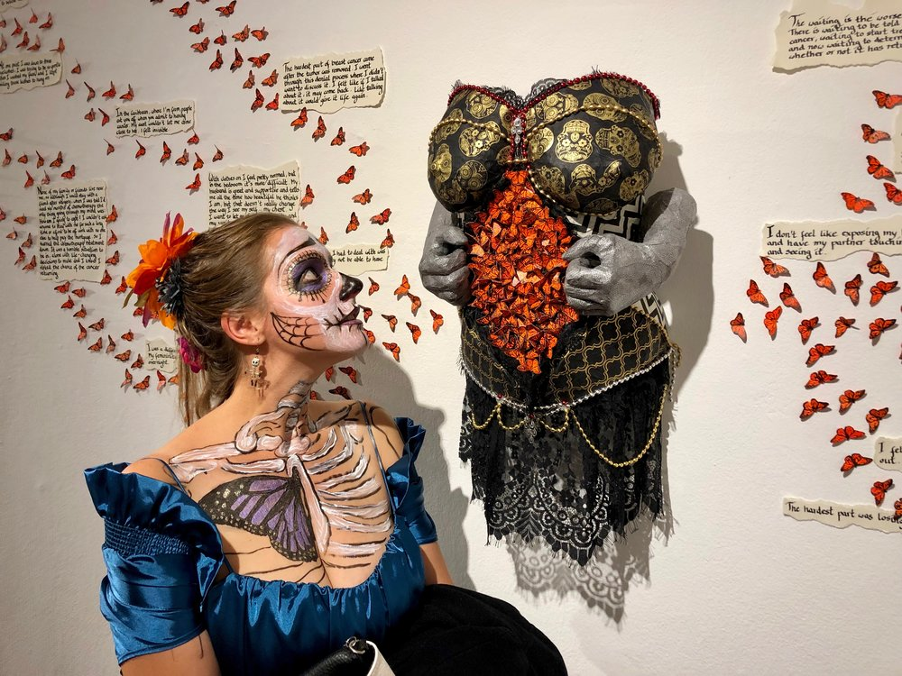Wounded Femininity by Entropy - Day of the Dead Exhibition: Flight of the Ancestors / Vuelo de los ancestros at Mission Cultural Center for Latino Arts