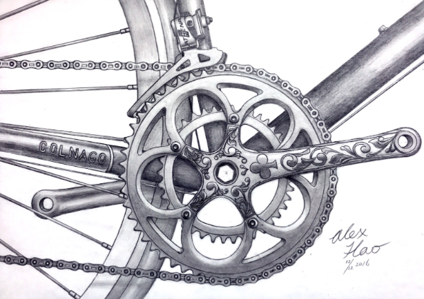 A pencil drawing of a bike done by Alex Has.
