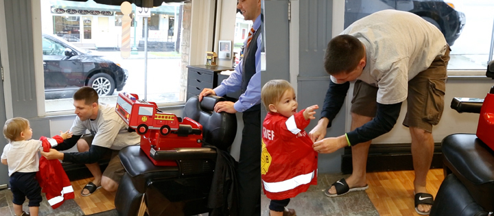 The parent or guardian should put the jacket on the child and secure them into the seat, it's better to have someone familiar do it instead of the stylist who is still a stranger.  • Let the barber or hair stylist offer your child a lollipop during or after his or her first haircut to make the experience more enjoyable. Although at Imagination Booster we don't encourage small children to consume high-fructose corn syrup, a lollipop can be an effective way to pacify a child. The less often the child gets the treat, the more special it will seem during the haircut.