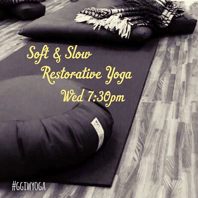 Looking to relax at the end of the day? . 🕯Soft and Slow restorative yoga is a wonderful way to calm your mind and wind down into your evening. . 🌬With the main emphasis on breath and connection, we'll move through a series of gentle stretches, often using props to support us. . 💆‍♀️You'll leave the class feeling deliciously relaxed. . #restorativeyoga #restorative #relaxation #yogarelaxation #asana #savasana #corpsepose #childspose #legsupthewall #letitgo #humpday #wednesdaynight #yogaforlife #yogaforeveryone #yogamat #yogamom #yogadudes #ggiwyoga